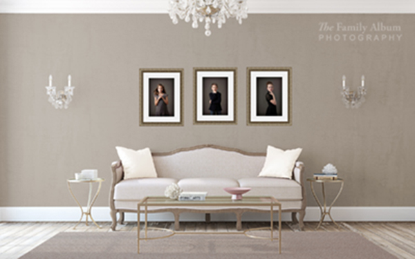 Couch and framed triptych